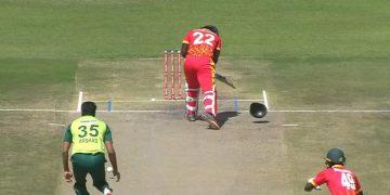 Bouncer by Arshad Iqbal breaks batsman's helmet into 2 parts