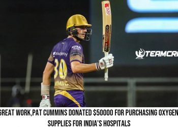 Great work,Pat Cummins donated $50000 for purchasing oxygen supplies for India's hospitals