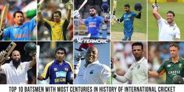Top 10 batsmen with most Centuries in History of International Cricket